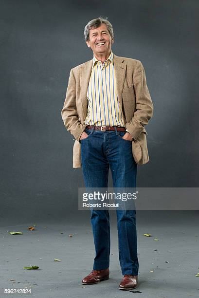 British broadcaster author and parliamentarian Melvyn Bragg attends a photocall at Edinburgh International Book Festival at Charlotte Square Gardens...