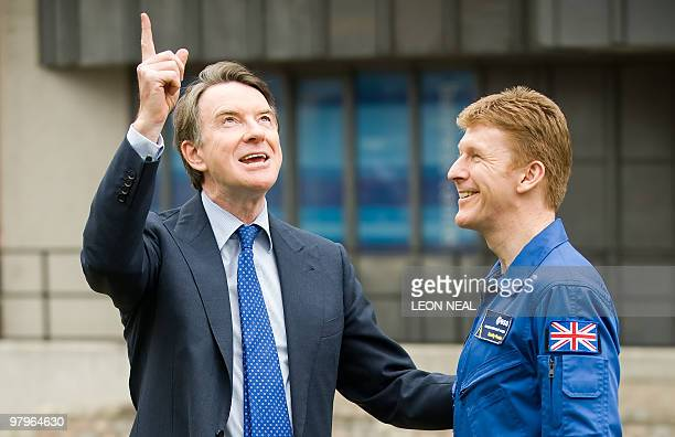 British Business Secretary Peter Mandelson speaks to Timothy Peake of the European Astronaut Corps outside in central London on March 23 2010...