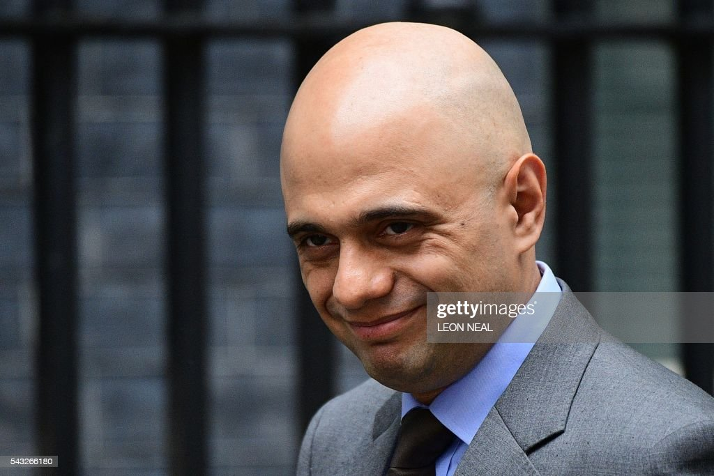 British Business Secretary Sajid Javid arrives to attend a cabinet meeting at 10 Downing Street in central London on June 27, 2016. European stock markets mostly slid Monday as British finance minister George Osborne attempted to calm jitters after last week's shock Brexit referendum. Britain's surprise referendum decision to leave the European Union wiped $2.1 trillion off market valuations on Friday and sent the pound collapsing to a 31-year low against the dollar. / AFP / LEON