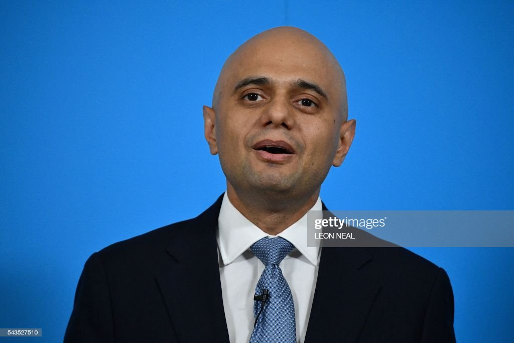 British Business Secretary Sajid Javid speaks during a news conference in central London on June 29, 2016, where British Work and Pensions Secretary Stephen Crabb announced his candidacy for the leadership of the Conservative Party. British Prime Minister David Cameron's successor will be announced on September 9 after nominations are submitted by June 30 at the latest, the Conservative Party said. Britain has been pitched into uncertainty by the result of the June 23 referendum, with Cameron announcing his resignation, the economy facing a string of shocks and Scotland making a fresh threat to break away. / AFP / LEON