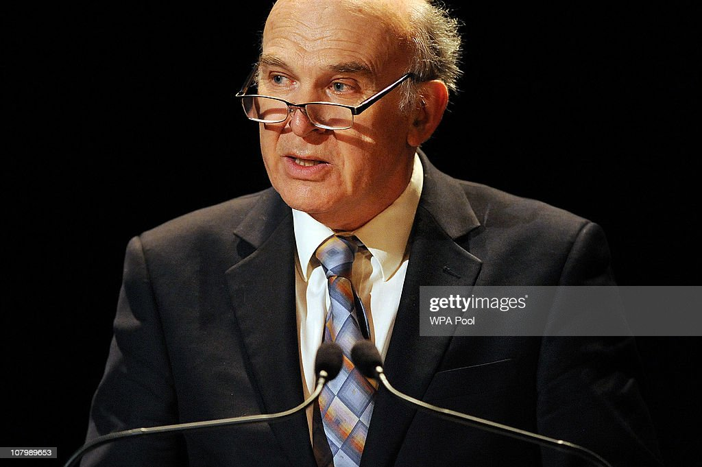 British Business Secretary <a gi-track='captionPersonalityLinkClicked' href=/galleries/search?phrase=Vince+Cable&family=editorial&specificpeople=4872939 ng-click='$event.stopPropagation()'>Vince Cable</a> delivers a speech with Chinese Vice Premier Li Keqiang in attendance during the China-Britain British Council Banquet at the Royal Courts of Justice on January 11, 2011 in London. Britain and China signed trade deals worth 2.6 billion GBP and it was also announced Beijing will loan a pair of giant pandas to Edinburgh Zoo for 10 years.