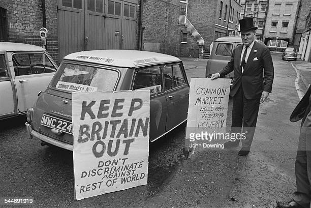 British businessman and politician Oliver Smedley leaving to demonstrate in Rome as part of his Keep Britain Out campaign to oppose British...