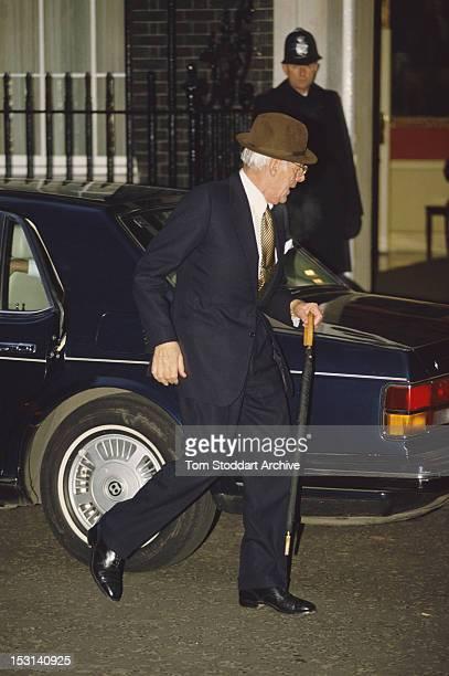 British businessman Denis Thatcher husband of Prime Minister Margaret Thatcher returns to Number 10 Downing Street after lunch London 1990