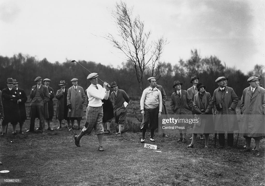 British captain George Duncan (left) and American captain Walter Hagen (1892 - 1969) during the Ryder Cup at Moortown Golf Club in West Yorkshire, April 1929.