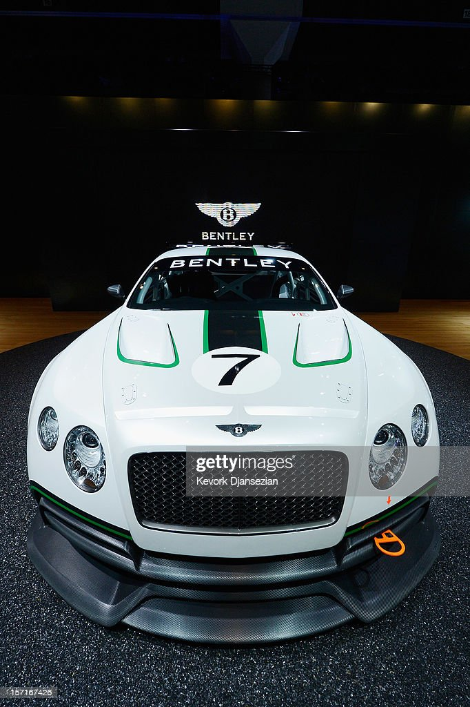 British car manufacturer Bentley Motors new GT3 race car makes its US debut at the Los Angeles Auto Show.during the Los Angeles Auto show on November 29, 2012 in Los Angeles, California. The LA Auto Show opens to the public on November 30 and runs through December 9.