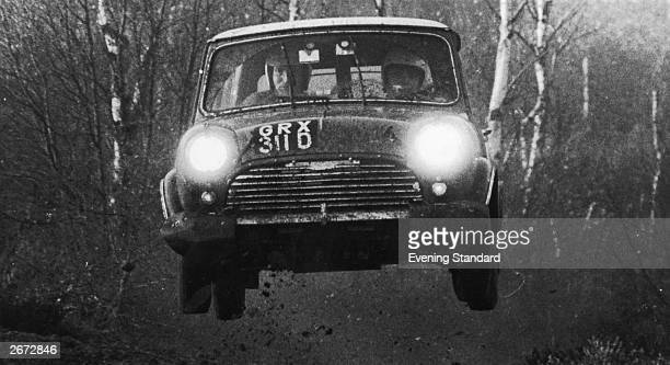 British car of the sixties the Austin Morris Mini driven by Finnish rally driver Timo Makinen