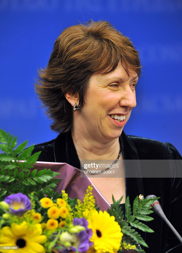 British Catherine Ashton chosen as EU foreign policy chief smiles during a presser at the European Council headquarters on November 19 2009 in...