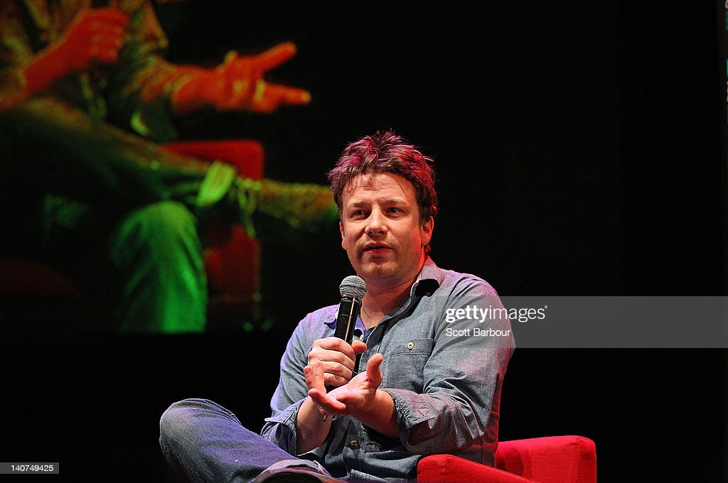 British Celebrity Chef <a gi-track='captionPersonalityLinkClicked' href=/galleries/search?phrase=Jamie+Oliver&family=editorial&specificpeople=159384 ng-click='$event.stopPropagation()'>Jamie Oliver</a> speaks to an audience about responsible eating during an engagement at the Wheeler Centre on March 6, 2012 in Melbourne, Australia. The Government and the Good Foundation will pledge together over AUD5 million to bring Oliver's Ministry of Food to the state to help teach cooking techniques and nutrition to participants and help combat obesity as part of the Victorian Helathy Eating Enterprise.