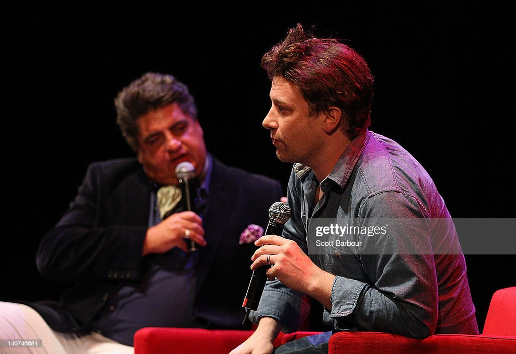 British Celebrity Chef <a gi-track='captionPersonalityLinkClicked' href=/galleries/search?phrase=Jamie+Oliver&family=editorial&specificpeople=159384 ng-click='$event.stopPropagation()'>Jamie Oliver</a> speaks with food journalist and television personality Matt Preston and an audience about responsible eating during an engagement at the Wheeler Centre on March 6, 2012 in Melbourne, Australia. The Government and the Good Foundation will pledge together over AUD5 million to bring Oliver's Ministry of Food to the state to help teach cooking techniques and nutrition to participants and help combat obesity as part of the Victorian Helathy Eating Enterprise.