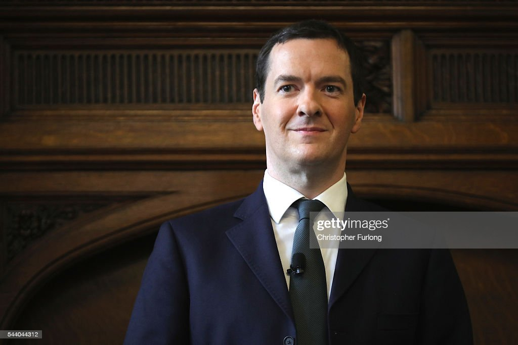 British Chancellor <a gi-track='captionPersonalityLinkClicked' href=/galleries/search?phrase=George+Osborne&family=editorial&specificpeople=5544226 ng-click='$event.stopPropagation()'>George Osborne</a> addresses guests during a visit to the Manchester Chamber of Commerce on July 1, 2016 in Manchester, England. During his speech to delegates Chancellor <a gi-track='captionPersonalityLinkClicked' href=/galleries/search?phrase=George+Osborne&family=editorial&specificpeople=5544226 ng-click='$event.stopPropagation()'>George Osborne</a> set out to reassure business leaders in the wake of Brexit.