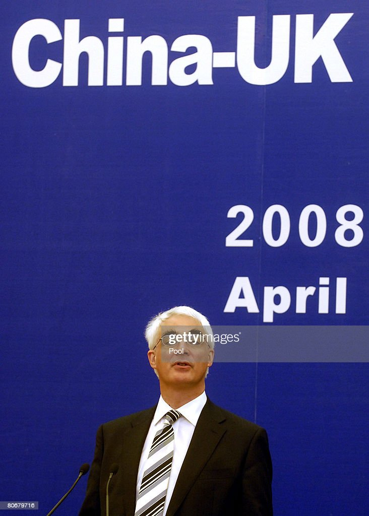 British Chancellor of the Exchequer, Alistair Darling, attends a press conference with Chinese Vice Premier Wang Qishan at the Great Hall of the People on April 15, 2008 in Beijing, China. Darling is visiting China for International Economic Dialogue, on codes of conduct for sovereign wealth funds, with the Group of Seven leading industrial nations and the IMF.
