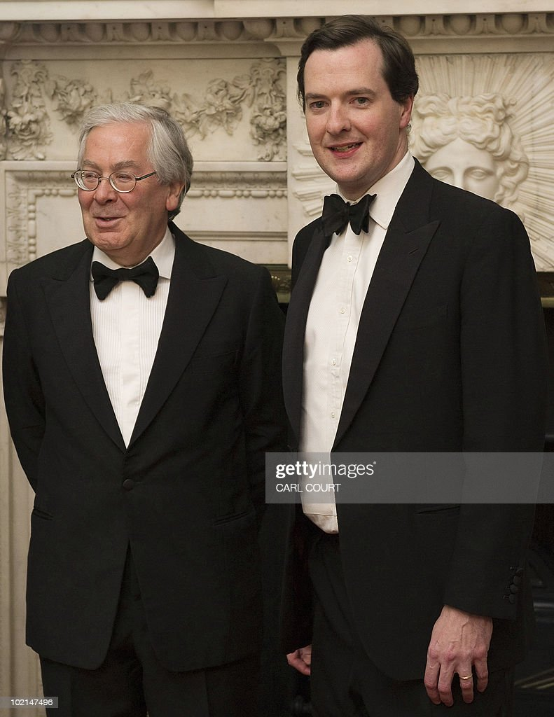 British Chancellor of the Exchequer George Osborne (R) and Bank of England Governor Mervyn King (L) attend the Lord Mayor's dinner to the Bankers and Merchants of the City of London at Mansion House in London, on June 16, 2010.