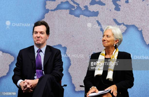 British Chancellor of the Exchequer George Osborne and International Monetary Fund Managing Director Christine Lagarde during a speech at Chatham...