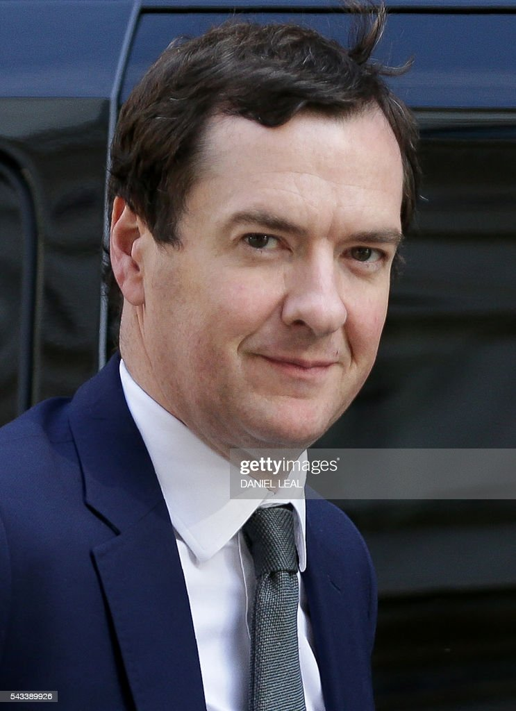British Chancellor of the Exchequer George Osborne arrives in Downing Street in central London on June 28, 2016. EU leaders attempted to rescue the European project and Prime Minister David Cameron sought to calm fears over Britain's vote to leave the bloc as ratings agencies downgraded the country. Britain has been pitched into uncertainty by the June 23 referendum result, with Cameron announcing his resignation, the economy facing a string of shocks and Scotland making a fresh threat to break away. / AFP / Daniel Leal-Olivas