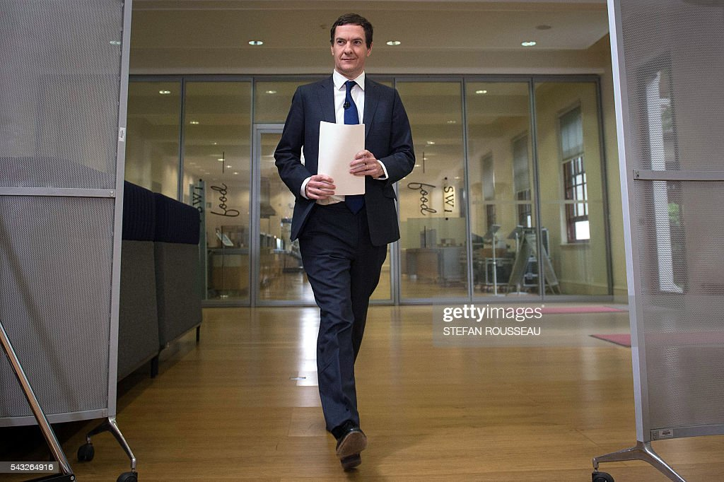 British Chancellor of the Exchequer George Osborne arrives to make a statement at the Treasury in London on June 27, 2016, following the pro-Brexit outcome of the June 23 EU referendum. Britain should only trigger Article 50 to leave the EU when it has a 'clear view' of how its future in the bloc looks, finance minister George Osborne said Monday following last week's shock referendum. London stocks sank more than 0.8 percent in opening deals on Monday, despite attempts by finance minister George Osborne to calm jitters after last week's shock Brexit vote. / AFP / POOL / Stefan Rousseau