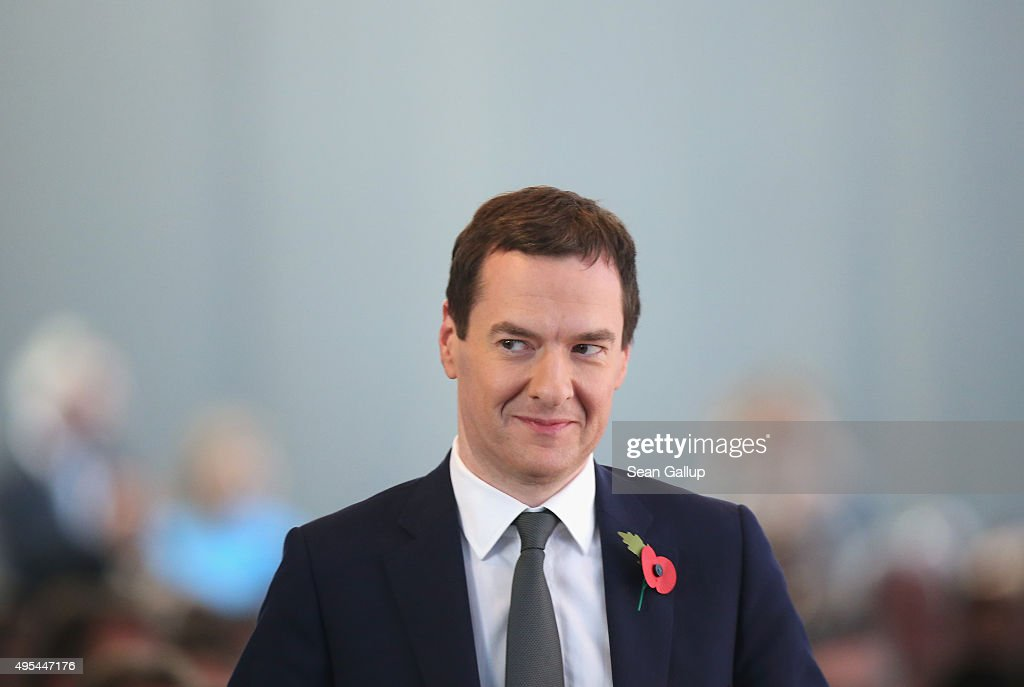 British Chancellor of the Exchequer George Osborne attends the 'Day of German Indsutry' annual gathering on November 3, 2015 in Berlin, Germany. Hosted by the German Federation of Industry (BDI), the annual gathering brings together industrial leaders from across Germany as well as political leaders.
