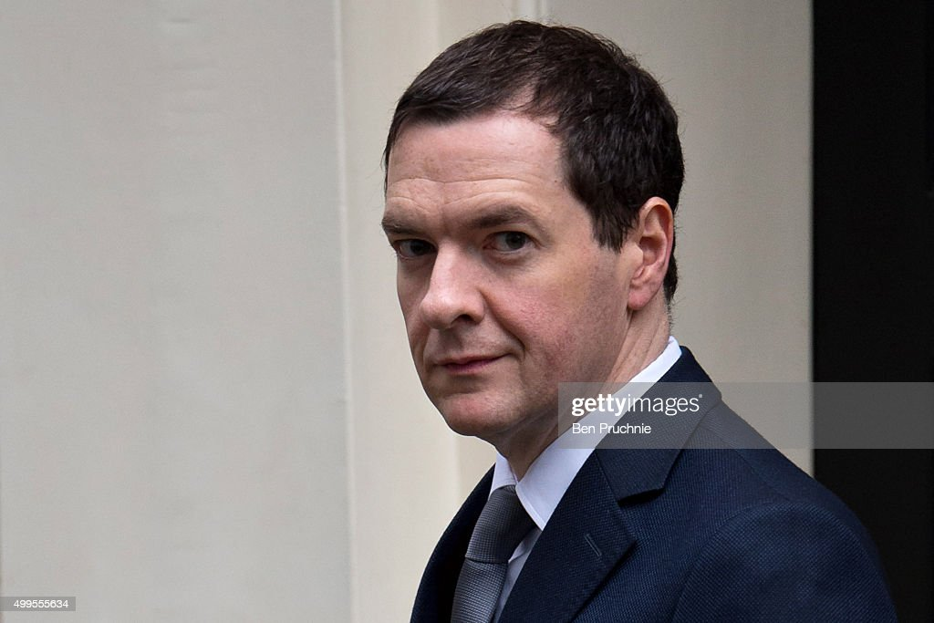 British Chancellor of the Exchequer <a gi-track='captionPersonalityLinkClicked' href=/galleries/search?phrase=George+Osborne&family=editorial&specificpeople=5544226 ng-click='$event.stopPropagation()'>George Osborne</a> departs Number 11 Downing Street on December 2, 2015 in London, England. British MPs are expected to vote tonight on whether to back UK airstrikes on Islamic State targets in Syria following a 10-hour long House of Commons debate.