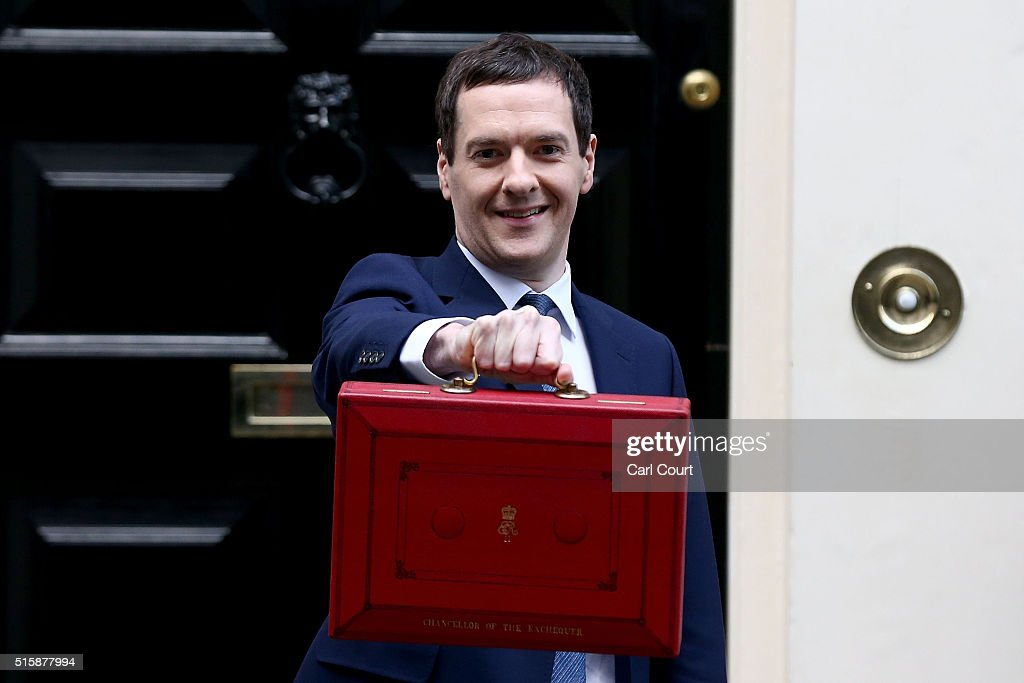 British Chancellor of the Exchequer, George Osborne holds up the Budget Box as he poses for photographs outside 11 Downing Street on March 16, 2016 in London, England. Today's budget will set the expenditure of the public sector for the year beginning on April 1st 2016 against the revenues gathered by HM Treasury.
