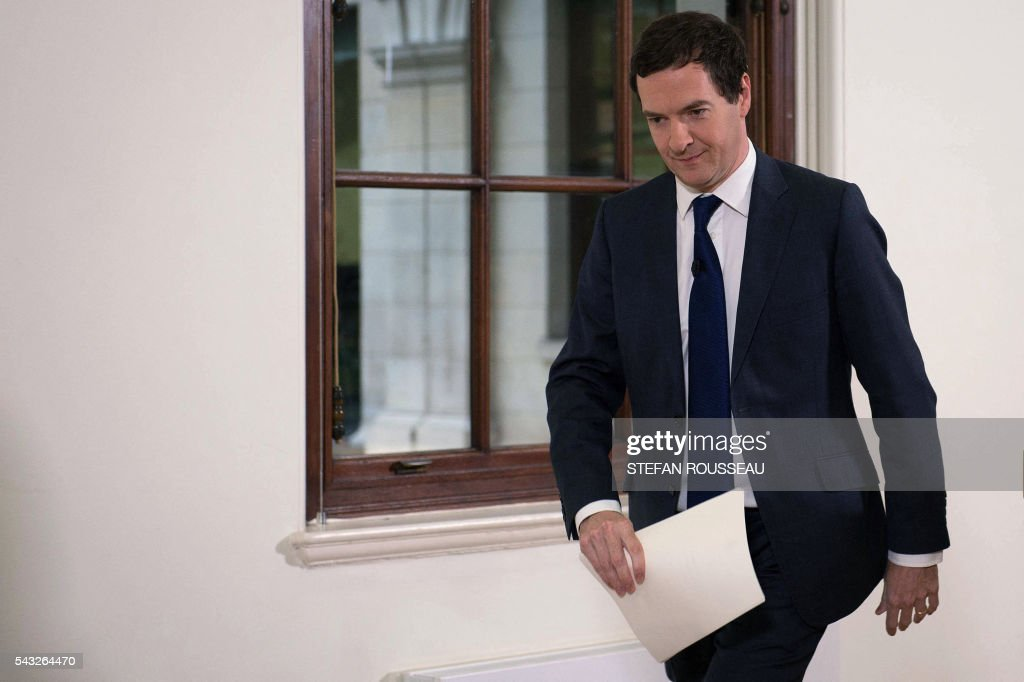 British Chancellor of the Exchequer George Osborne leaves after making a statement at the Treasury in London on June 27, 2016, following the pro-Brexit outcome of the June 23 EU referendum. Britain should only trigger Article 50 to leave the EU when it has a 'clear view' of how its future in the bloc looks, finance minister George Osborne said Monday following last week's shock referendum. London stocks sank more than 0.8 percent in opening deals on Monday, despite attempts by finance minister George Osborne to calm jitters after last week's shock Brexit vote. / AFP / POOL / Stefan Rousseau