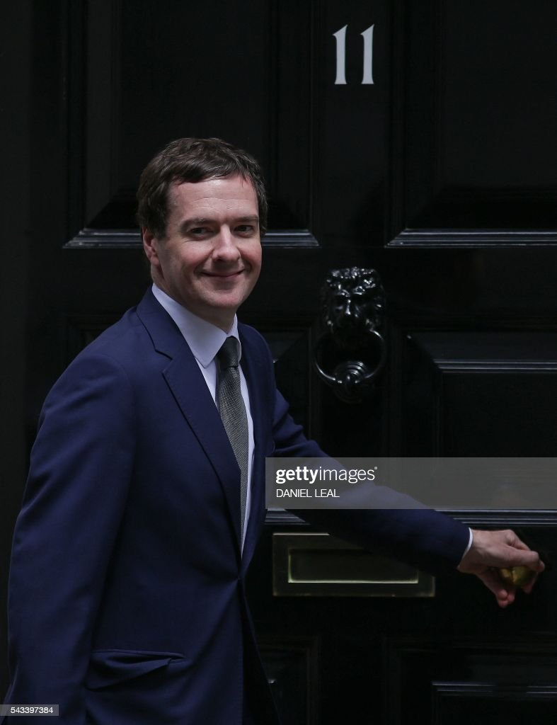 British Chancellor of the Exchequer George Osborne leaves from 11 Downing Street in central London on June 28, 2016. European stocks rose for the first time on Tuesday since Britain's shock vote to quit the EU and the pound rebounded as investors cautiously returned to the markets which remained jittery. Britain has been pitched into uncertainty by the June 23 referendum result, with Cameron announcing his resignation, the economy facing a string of shocks and Scotland making a fresh threat to break away. / AFP / Daniel Leal-Olivas