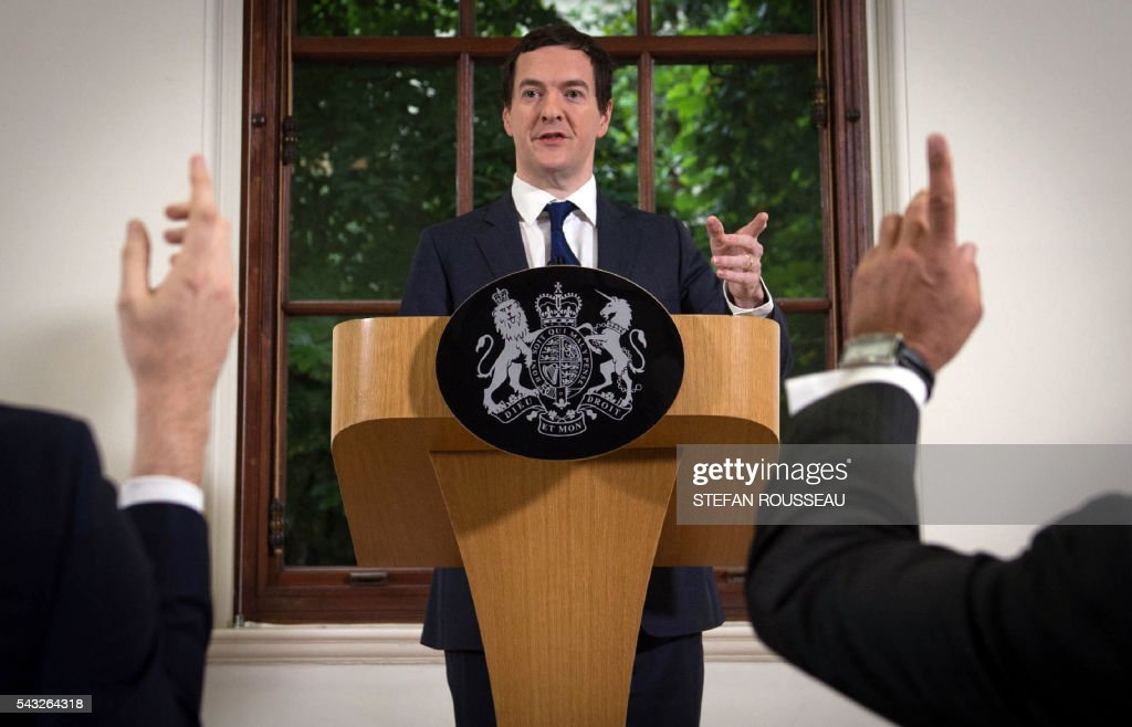 British Chancellor of the Exchequer George Osborne makes a statement at the Treasury in London on June 27, 2016, folowing the pro-Brexit outcome of the June 23 EU referendum. Britain should only trigger Article 50 to leave the EU when it has a 'clear view' of how its future in the bloc looks, finance minister George Osborne said Monday following last week's shock referendum. London stocks sank more than 0.8 percent in opening deals on Monday, despite attempts by finance minister George Osborne to calm jitters after last week's shock Brexit vote. / AFP / POOL / Stefan Rousseau