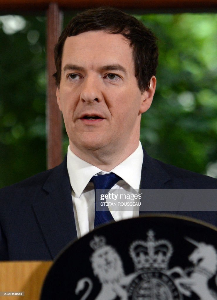 British Chancellor of the Exchequer George Osborne makes a statement at the Treasury in London on June 27, 2016, following the pro-Brexit outcome of the June 23 EU referendum. Britain should only trigger Article 50 to leave the EU when it has a 'clear view' of how its future in the bloc looks, finance minister George Osborne said Monday following last week's shock referendum. London stocks sank more than 0.8 percent in opening deals on Monday, despite attempts by finance minister George Osborne to calm jitters after last week's shock Brexit vote. / AFP / POOL / Stefan Rousseau