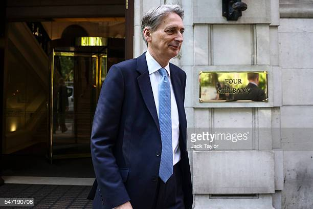 British Chancellor of the Exchequer Philip Hammond leaves Millbank Studios in Westminster on July 14 2016 in London England Mr Hammond today spends...