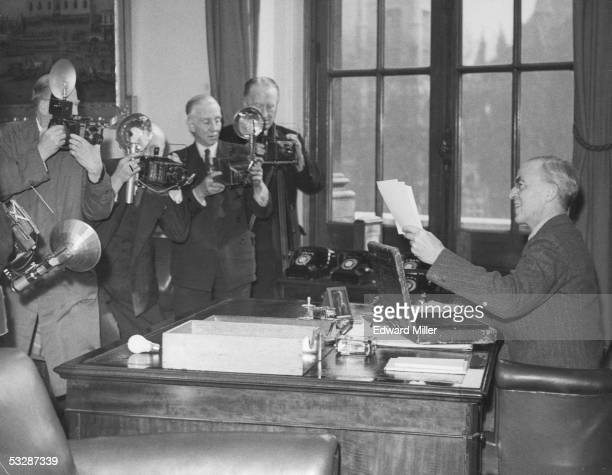 British Chancellor of the Exchequer Sir Stafford Cripps gives a press interview shortly before announcing the new budget 17th April 1950