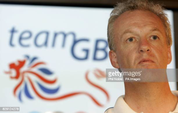 British Chef de Mission at the Athen's Olympics Simon Clegg speaks to the media at a British Olympic Association press conference in Athens