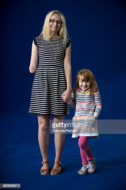 British children's television presenter and playwright Cerrie Burnell pictured with a young fan at the Edinburgh International Book Festival where Ms...