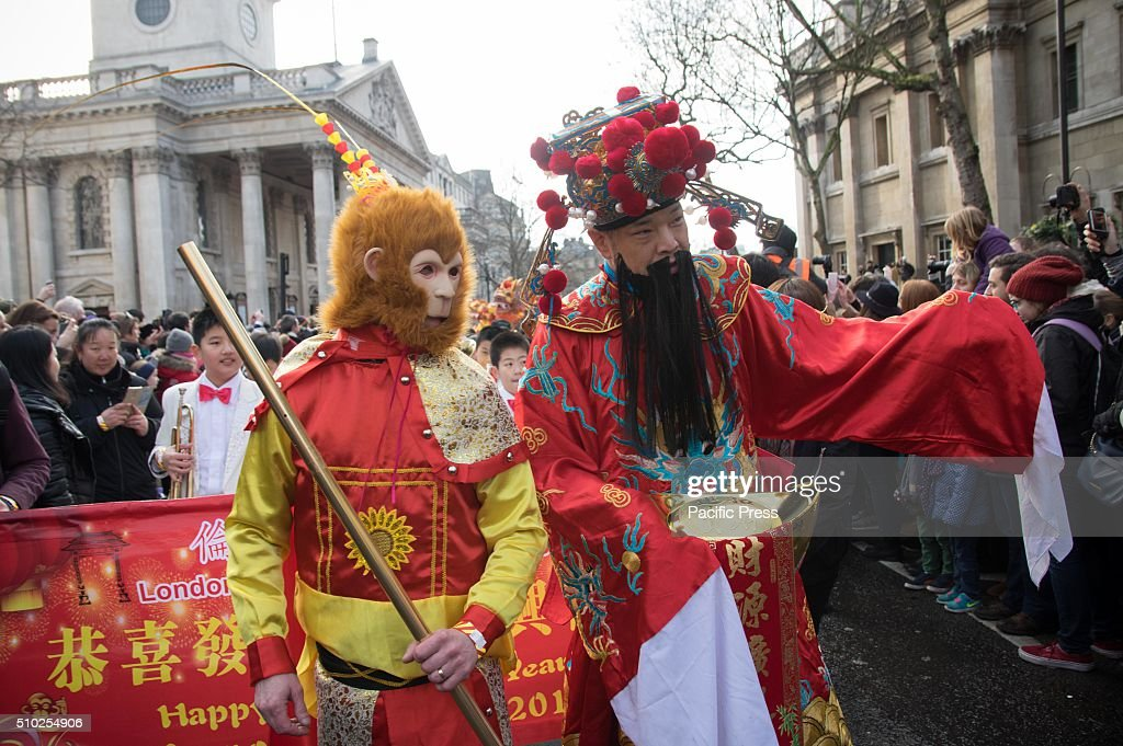 British Chinese celebrate Chinese New Year with dragon and lion dance performance in Chinatown of London. The celebration attracts thousands of spectators.