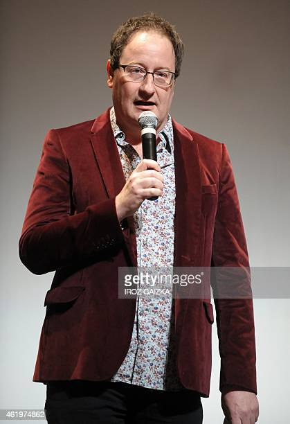 British Chris Chibnall creator of 'Broadchurch' speaks after receiving a 'Eurofipa honor' during the Fipa in Biarritz on January 22 2015 AFP PHOTO /...
