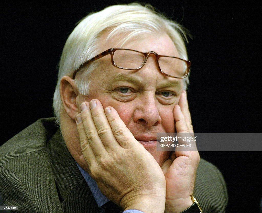 British Chris Patten EU Commissioner in charge of External Relations is pictured at the end of the press conference of the EUIsrael Association...