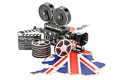 British cinematography, film industry concept. 3D rendering isolated on white background