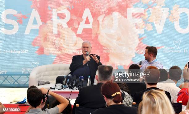 British comedian director and screenplay writer John Cleese ansmwers questions from the audience and young filmmakers during the 23rd Sarajevo Film...