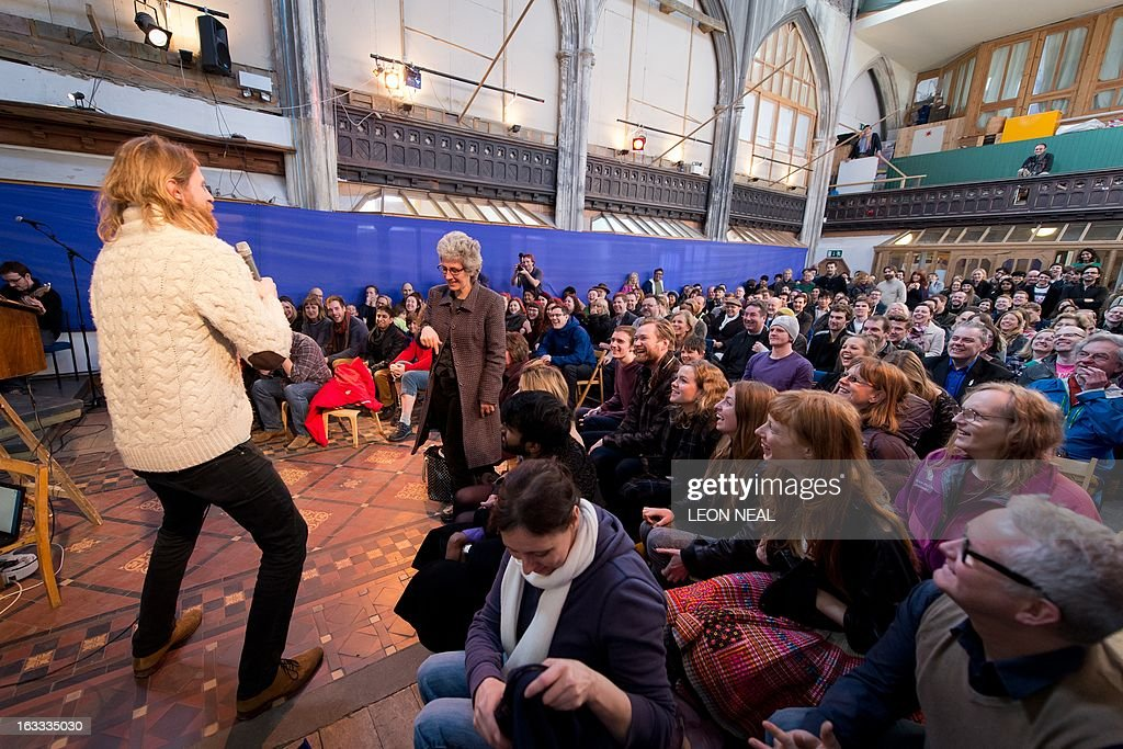 LEE British comedian Sanderson Jones a cofounder of The Sunday Assembly an atheist service held at a converted church leads a service in north London...