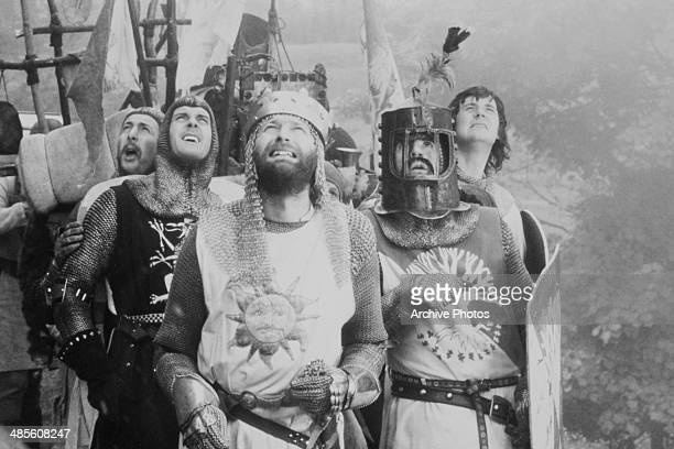 British comedians Eric Idle John Cleese Graham Chapman Terry Jones and Michael Palin in a scene from 'Monthy Python and the Holy Grail' directed by...
