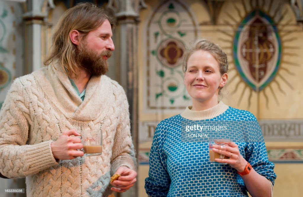 British comedians Sanderson Jones and Pippa Evans cofounders of The Sunday Assembly an atheist service held at a converted church pose for pictures...