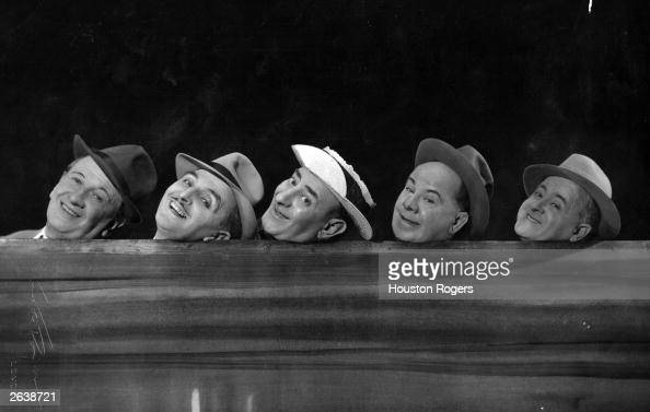 British comedians The Crazy Gang in 'Knights of Madness' at the Victoria Palace Theatre London Left to right Jimmy Nervo Teddy Knox Bud Flanagan...