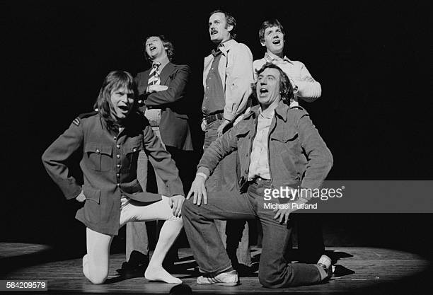 British comedy group Monty Python performing on stage at the New York City Center New York 20th April 1976 Left to right Terry Gilliam Graham Chapman...