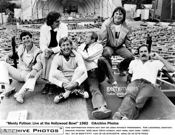British comedy troupe Monty Python including Michael Palin Terry Jones Eric Idle Graham Chapman Terry Gilliam and John Cleese lounge about at the...