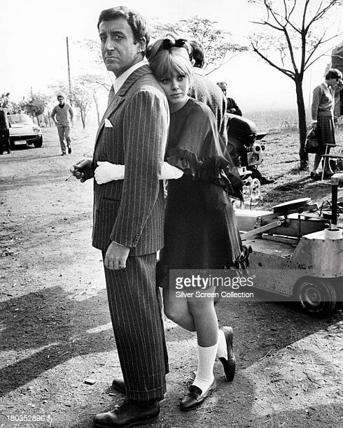 British comic actor Peter Sellers and Swedish actress Britt Ekland on the set of 'The Bobo' directed by Robert Parrish 1967 Sellers and Ekland were...