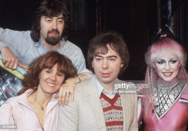 British composer Andrew Lloyd Webber centre with Stephanie Lawrence right star of the musical 'Starlight Express' and British stage director Trevor...