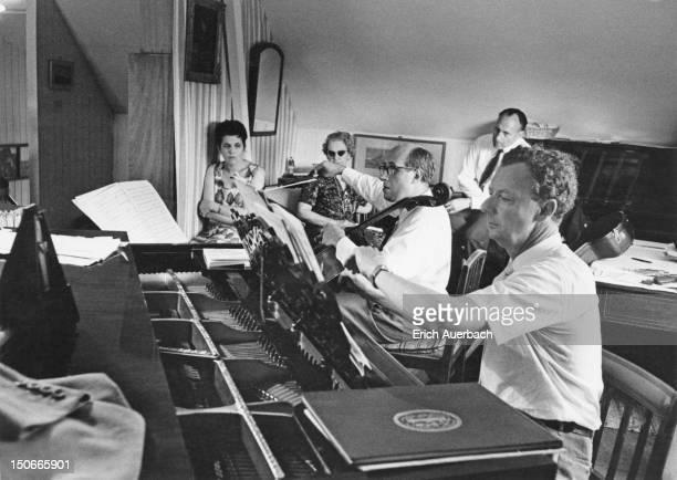 British composer Benjamin Britten accompanies Russian cellist Mstislav Rostropovich in his 'Cello Sonata' in the composer's Aldeburgh music room 1st...