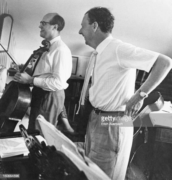 British composer Benjamin Britten rehearses his piece 'Cello Sonata' with Russian cellist Mstislav Rostropovich in Britten's Aldeburgh music room 1st...