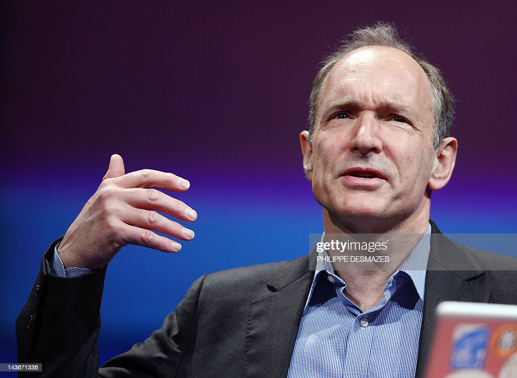 British computer scientist Tim Berners-Lee, the man credited with inventing the world wide web, gives a speech on April 18, 2012 in Lyon, central France, during the World Wide Web 2012 international conference on April 18, 2012 in Lyon.