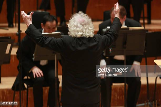 British conductor Sir Simon Rattle leads the London Symphony Orchestra as French pianist PierreLaurent Aimard performs composer Olivier Messiaen's...