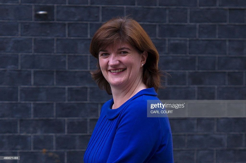 British Conservative Member of Parliament Nicky Morgan arrives in Downing Street in central London on April 9 2014 after being appointed to replace...