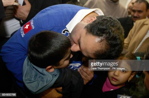 British Conservative MEP Sajjad Karim is met by his nephew and daughter Rabia as he arrives back at Manchester Airport Mr Karim was forced to flee to...