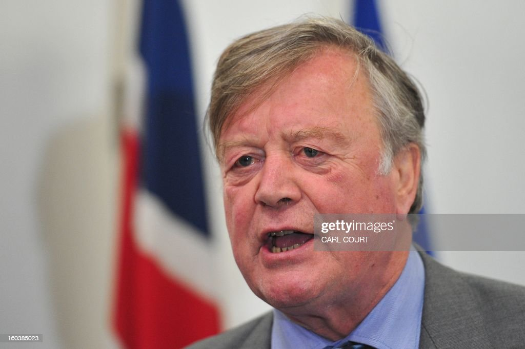 British Conservative Minister without Portfolio, Ken Clarke, speaks during a press conference by the Centre for British Influence, the cross-party umbrella campaign to keep Britain in Europe, in London on January 30, 2013. Rival politicians launched a group to campaign for Britain to stay in the EU after Prime Minister David Cameron said he planned to hold a referendum on membership. Cabinet ministers Kenneth Clarke and Danny Alexander along with former minister Peter Mandelson were due to take part in the launch event for the group, called British influence.